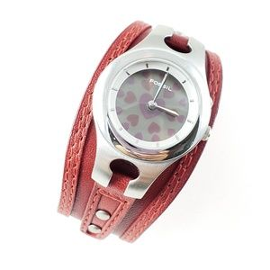 Fossil Watch Red Leather Cuff Band Hearts Face
